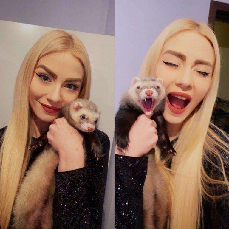 Alina Rusu concurează în emisiunea lui Măruță alături de dihorul Zari